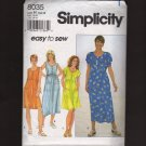 Simplicity 8035 Misses Dress Raised Waist Sewing Pattern Size 6 8 10 Bust 30.5 31.5 32.5 1990s