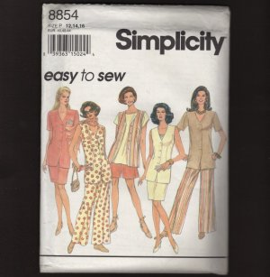 Misses Unlined Jacket Vest Pants Shorts Skirt Simplicity 8854 Sewing Pattern Bust 34 36 38 1990s