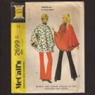 Vintage Poncho and Flared Pull-on Pants Misses Size 12 McCall's 2699 Bust 34 1970s