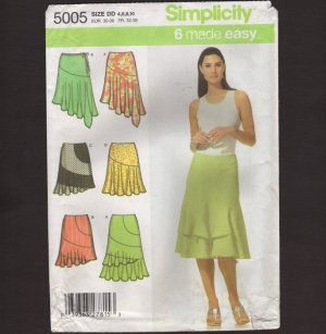 Misses Skirt Sewing Pattern Simplicity 5005 flounce and asymmetrical hemline Waist 22 23 24 25 2000s
