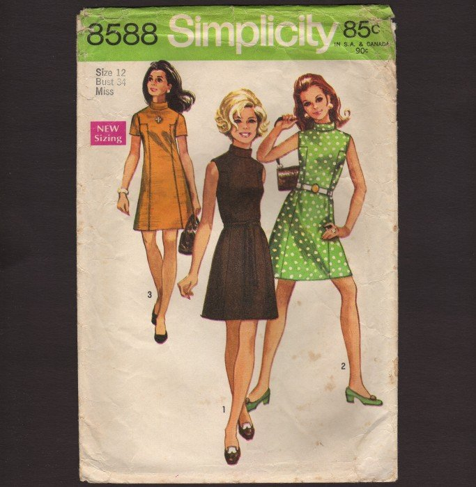 Vintage Simplicity 8588 Misses sleeve-less or short-sleeve dress A-line Size 12 Bust 34 1960s