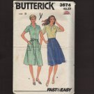 Misses Button Front Gathered Skirt Sewing Pattern Butterick 3674 Sz 10-14 Waist 25 26.5 28 1970s