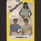 Misses Set of 3 PullOver Tops 3 lengths Simplicity 6328 Sewing Pattern Sz 10 Bust 32.5  1980s