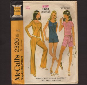 Vintage Misses Jumpsuit in Three Versions McCall's 2320 Sewing Pattern Size 12 Bust 34 1970s