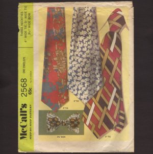 "1970 Neckties and Bow Tie Sewing Pattern 4"" and 5"" McCall's 2568 1970s"