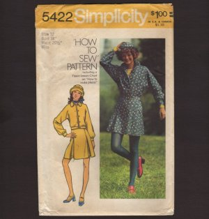 Vintage Unlined Jacket, Short and Mini Skirt and Hat Misses Simplicity 5422 Bust 34 1970s