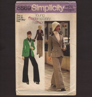Vintage Fitted Jacket and Wide-leg Cuffed Pants Sewing Pattern Simplicity 5869 Sz 12 Bust 34 1970s