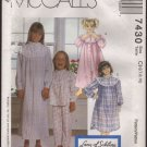 Size 7, 8, 10 Girls' Robe, Pajama Top, Pull-On Pants, Nightgown or shirt McCall's 7430 Pattern 1990s