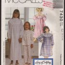Girls' Size 10 - 14  Robe, Pajama Top, Pull-On Pants, Nightgown or shirt McCall's 7430 Pattern 1990s