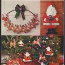 Santa Christmas 2 styles wall hangings and 5 Felt Santa Reindeer Ornaments Butterick 5016 1990s