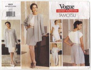 Vogue 1601 Misses Jacket Dress Top Shorts Pants Tamotsu Pattern sz 6-10 Bust 30.5 31.5 32.5 1990s