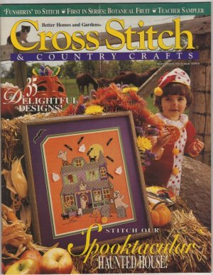 Cross Stitch & Country Crafts Magazine Sept/Oct 1993 Haunted House, Botanical Fruit, Christmas Mice