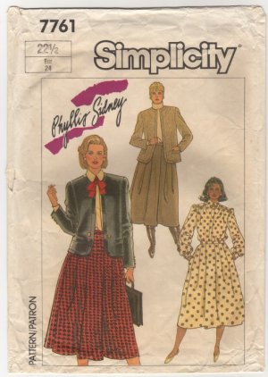 Simplicity 7761 Skirt, Blouse and Lined Jacket in Half-Size Sewing Pattern Bust 45 Size 22.5 1980s