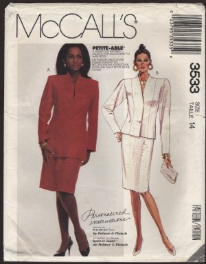 McCall's 3533 Misses Lined Jacket two lengths and Straight Skirt Size 14 Bust 36 Petite-Able 1980s