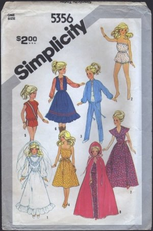 Vintage Barbie Simplicity 5356 Sewing Pattern Wedding Wardrobe for 11.5 and 12.5 Dolls 1980s 6363