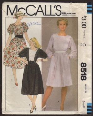 Misses Dress Dolman Sleeves 2 lengths McCall's 8518 Sewing Pattern Bust 32.5, 34 Size Small 1980s