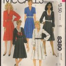 McCall's 8380 Misses' Button Front Dress Sewing Pattern pleat skirt Size 20 Bust 42 1980s