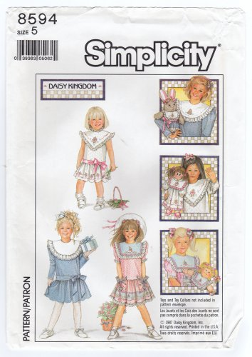 Simplicity 8594 Sewing Pattern Child�s Dress Daisy Kingdom detachable collar Size 5 Chest 24 1980s