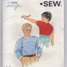 Kwik Sew 1697 Sewing Pattern Boys T-shirt crew neckline 2 sleeve style Serge Chest 23 24 25 26 1980s