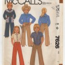 McCall's 7626 Sewing Pattern Toddler 2 Button Shirt Pull-on Pants Yoked Western Style Chest 21 1980s