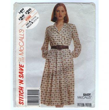 McCall's 4390 Misses Shirtwaist Dress Sewing Pattern Size 10 12 14 Bust 32.5 34 36 1980s uncut