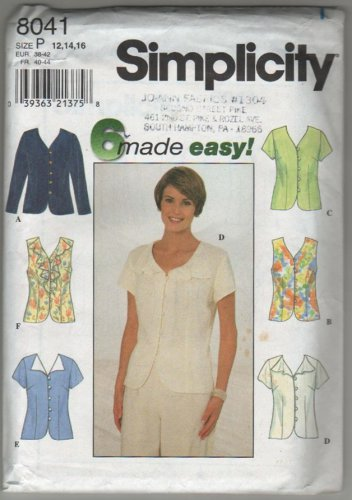 Simplicity 8041 Blouse with Button and Loop V-neckline 3 Sleeve variations Bust 34 36 38
