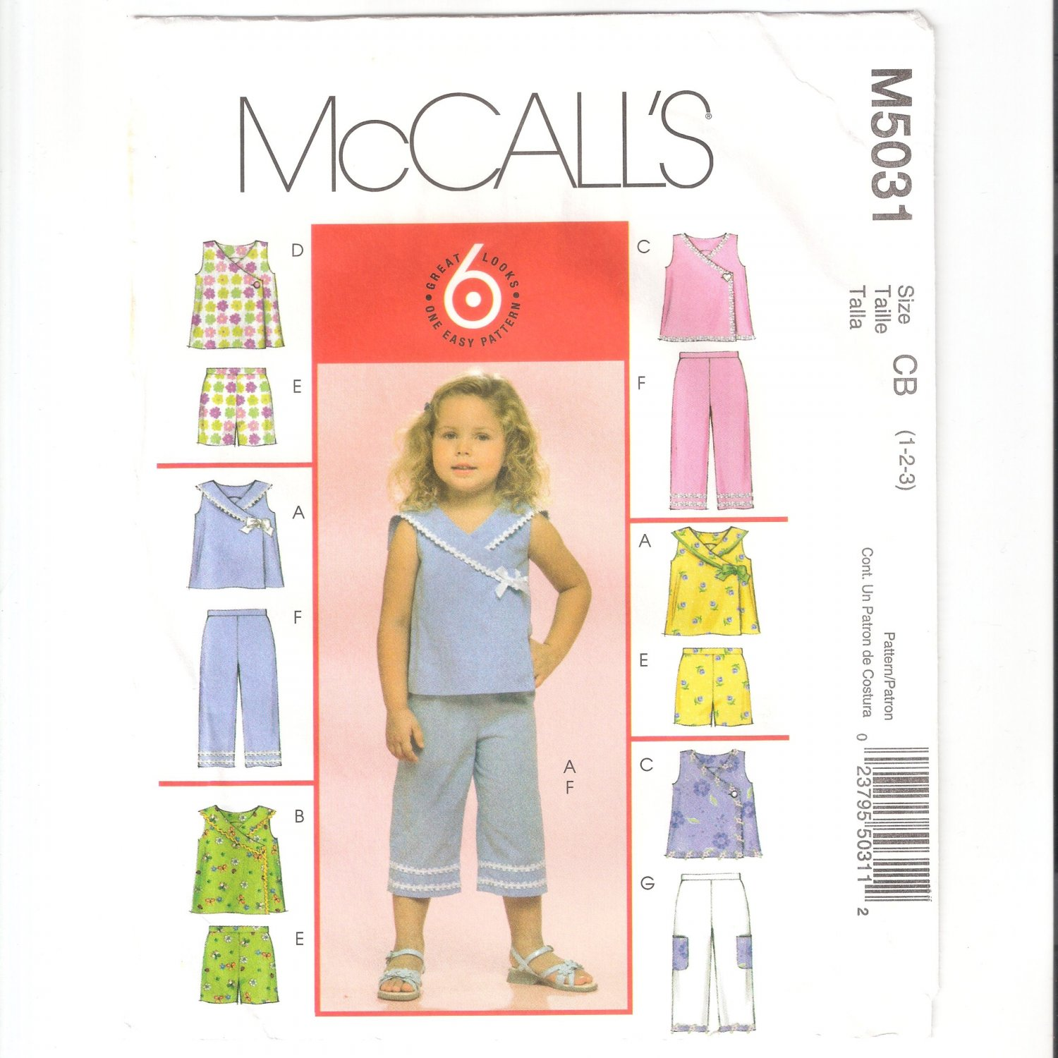 McCall's M5031 Toddlers Tops Shorts and Capri Pants Sewing Pattern 5031 Size CB (1, 2, 3) 2006