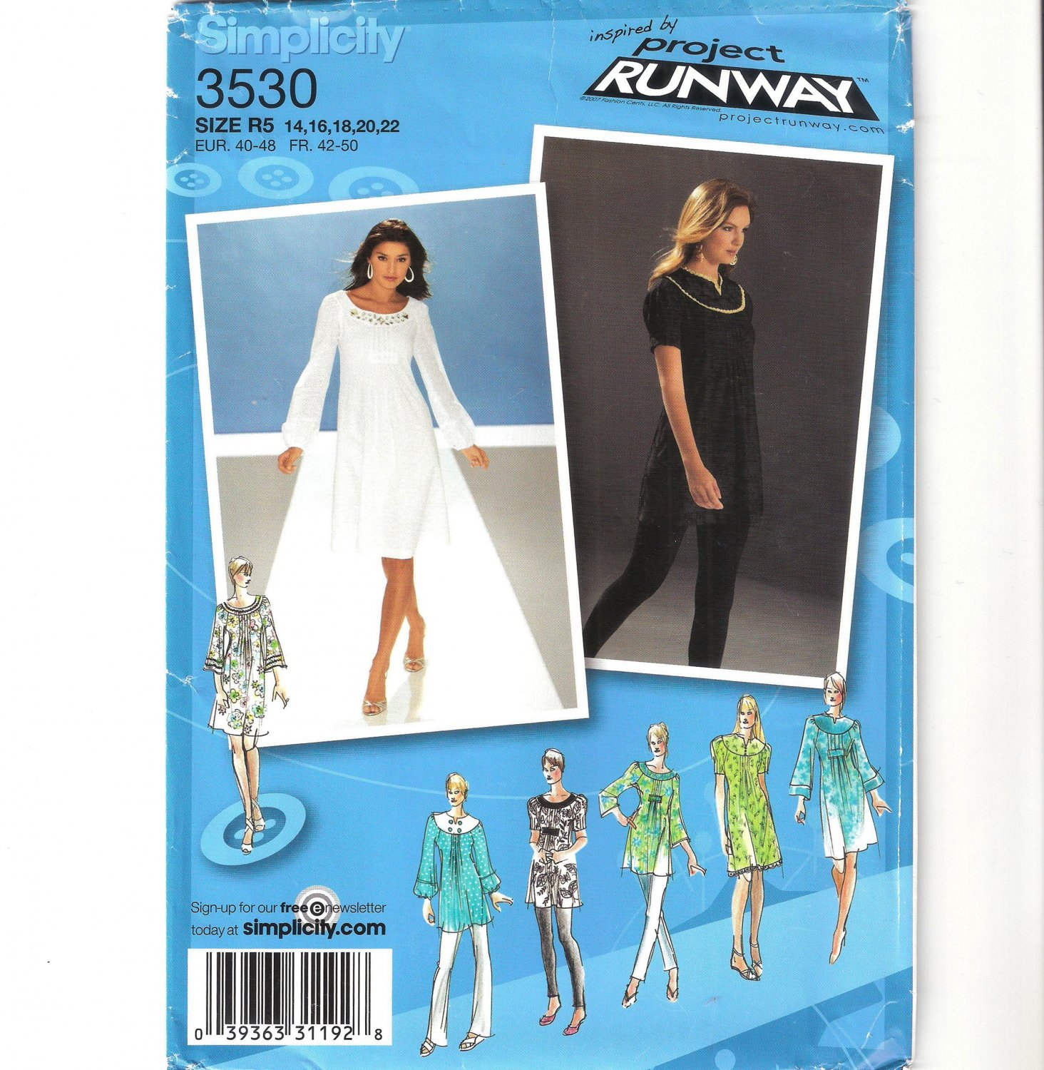 Simplicity 3530 Uncut Misses Dress Tunic with Neckline & Sleeve Variations Sewing Pattern Sz 14-22