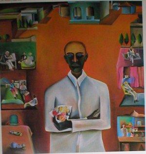 """Bhupen Khakar """"Man with a bouquet of Plastic flower"""" Indian contemporary art"""