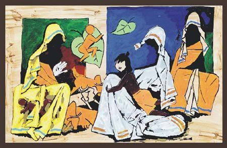"""""""Mother"""" by M.F.Husain Signed limited edition Serigraph Indian Contemporary art"""