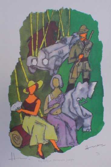 """""""Raj Party in the Kerala jungle""""- Signed  Limited edition reproduction print by M.F.Husain"""