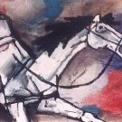 """Horses 1"" by M.F.Husain Signed limited edition Serigraph Indian Contemporary art"