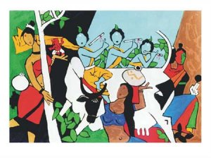 """""""Krishna Leela"""" by M.F.Husain Signed limited edition Serigraph Indian Contemporary art"""