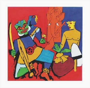 """""""Kerala 1"""" by M.F.Husain Signed limited edition Serigraph Indian Contemporary art"""