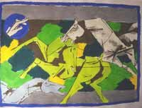 """Horses 2"" by M.F.Husain Signed limited edition Serigraph Indian Contemporary art"