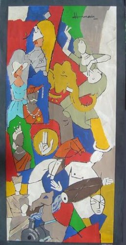 """Club 2000- British Raj"" by M.F.Husain Signed limited edition Serigraph Indian Contemporary art"