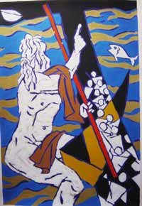 """Theorama-Judaism"""" by M.F.Husain Signed limited edition Serigraph Indian Contemporary art"""