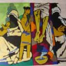 """Theorama-Christianity"" by M.F.Husain Signed limited edition Serigraph Indian Contemporary art"