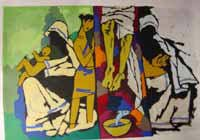 """""""Theorama-Christianity"""" by M.F.Husain Signed limited edition Serigraph Indian Contemporary art"""