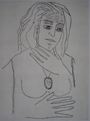 Untitled by Anjolie Ela Menon- Signed limited edition Lithograph Indian Contemporary art