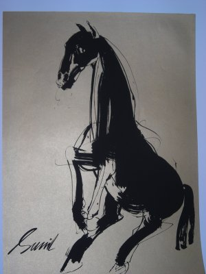 Horse by Sunil Das-Signed limited edition Lithograph Indian Contemporary art
