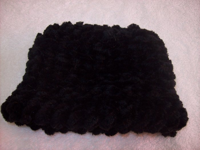 Hand-knitted doll hat, black