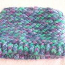 Hand-knitted tot hat, blue, green and purple