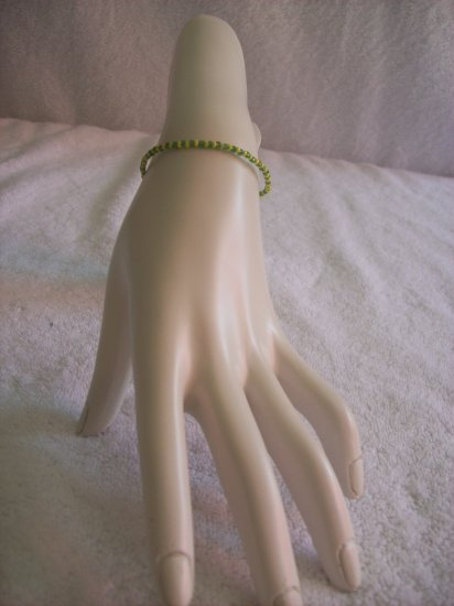 Beaded bracelet, green and yellow