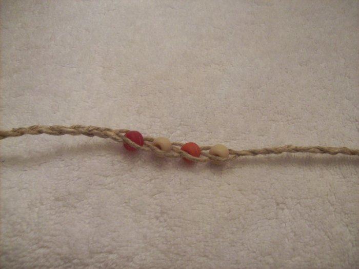 Wish bracelet (on tan) - red, tan, orange, tan