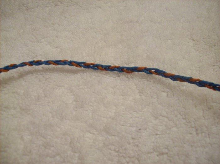 Wish bracelet (blue and orange) - no beads