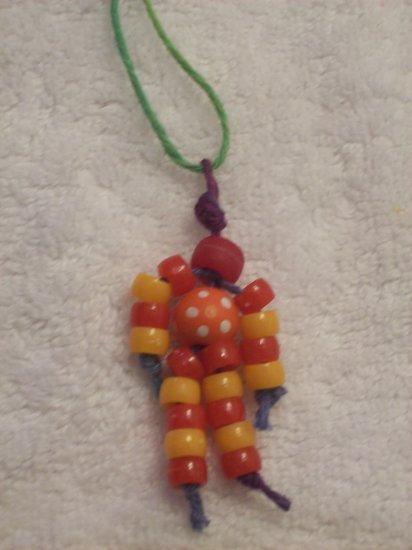 Flower bead (orange), red and orange