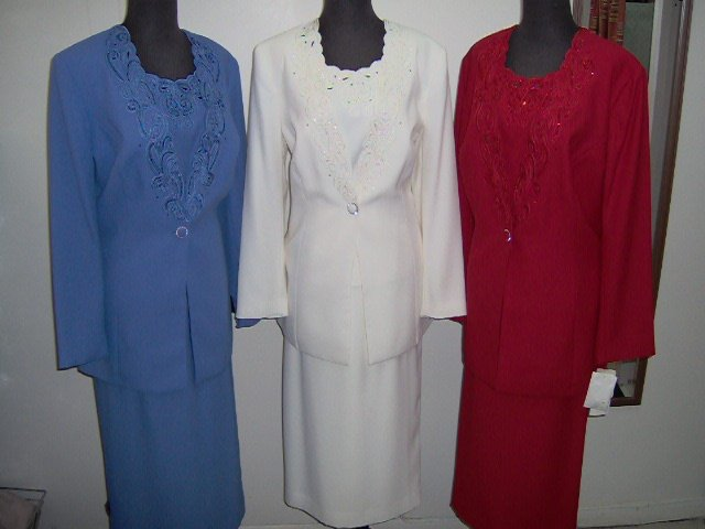 Ladies skirt suits by che studio,enbroidery on front