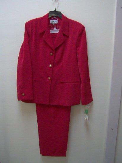 "women red club france pant suit,micro fiber,size 24, 2pc, pants=30"" inseam, jacket=jacket=29"" long"