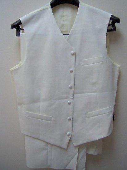 3pc white tuxedo suits for adult male, poly/poplin,size 38r to 52r, 38l to 52L6